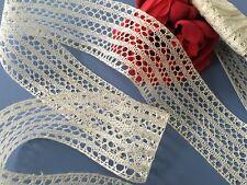 Large dentelle entre-deux Coton Faite main Fuseaux VENTE AU METRE Création D/43