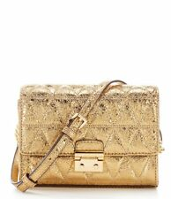 New Michael Kors Ruby Metallic Quilted Leather Clutch Crosssbody Bag Pale Gold