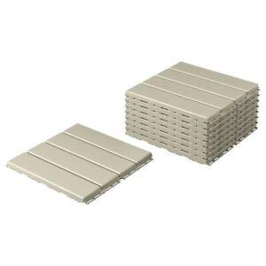 IKEA RUNNEN FLOOR DECKING, Outdoor, Beige 9 pack Polypropylene,904.767.34
