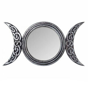 ALCHEMY TRIPLE MOON MIRROR Standing Wall Wicca Pagan Goddess Gothic Witch Celtic
