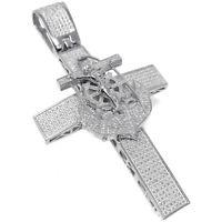 Real Diamond Jesus Crucifix Anchor Cross 10K White Finish Charm Pendant XL 3.5''