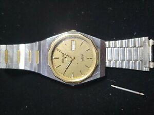 Rare Vintage SEIKO Chronos Men's Quartz 5C23-7019 Day-Date Alarm Watch