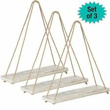 Rustic Distressed Wood Hanging Shelves: 17-Inch with Swing Rope Floating Shelves