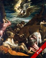 ANNUNCIATION OF JESUS BIRTH TO SHEPHERDS PAINTING ART REAL CANVAS GICLEEPRINT