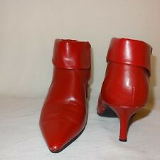 Red Ankle Boots Zipper FIONI High Heel Size 6 1/2