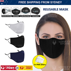 Three 3 Layer Reusable Face Mask Cotton Washable Unisex Mouth Masks Protective