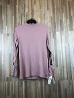 Calvin Klein Women's Long Sleeve Logo Stripe Mock Neck NWT
