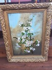 Victorian Apple Blossom Oil On Canvas Painting Well Done