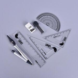 7pcs/set School Student Math Geometry Protractor Drawing Compass Ruler Pencil