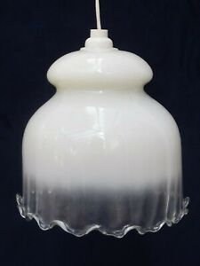 1930s OPALINE GLASS PENDANT, Vintage WHITE & CLEAR SHADE Retro OLD CEILING LIGHT