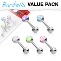 5 Pc Pack Epoxy Stone Ball Surgical Steel Barbell Tongue Piercing 14g