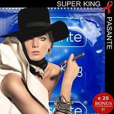 """x 20 préservatifs 💖 PASANTE SUPER KING 💖 Vraiment + larges """"Effet XXL"""" +1 GLOW"""