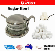 AZ SELLER SUGAR Cheese Sauce BOWL Stainless Steel and Glass bowl With lid Spoon