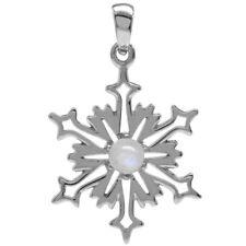 Moonstone Gemstone Snowflake Design Christmas Sterling Silver Pendant + Chain