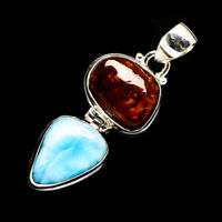 """Larimar, Mexican Fire Agate 925 Sterling Silver Pendant 1 3/4"""" Jewelry P723129F"""