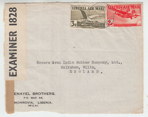 Liberia # C5-6 WWII CENSOR Cover to England Fauna Bird (Not an Entire)