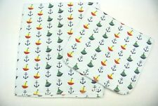 Baby Blanket Burp Cloth Set Sailboats Anchors Dots Can Be Personalized
