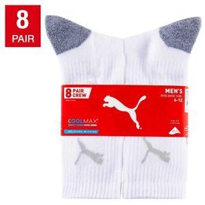 NEW 8 Pair Puma Men's CoolMax Moisture Wicking Crew Socks - Size  6-12 - White