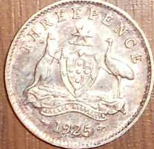 "1925   Australian Threepence With Luster ""  Exstremaly Fine "" VERY LOW MINTAGE"