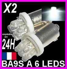 2 AMPOULE LAMPE A 6 LED BA9S T4W PLAFONNIER PLAQUE COFFRE LUMIERE LEDS blanc 12V