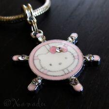 Hello Kitty Captain European Charm Bead With Rhinestones For Charm Bracelets