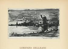 VINTAGE FOLK ART PRIMITIVE IMPRESSION OF HOLLAND WINDMILL ITALIAN ARTIST PRINT
