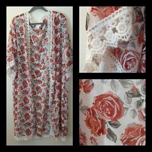 Lularoe kimono duster midi cover up M/Med  sheer lace trim chiffon Chloe rose