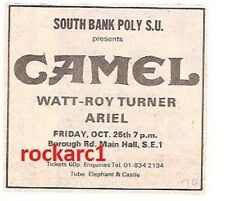 CAMEL UK TIMELINE Advert - South Bank Poly, Friday 25th October 1974 3x3 inches