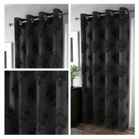 Black Voile Curtain Anika Flock Damask Panel Ready Made Rod Slot Top Curtains