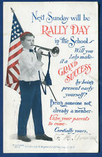 Rally Day at School Malden Massachusetts ma patriotic US Flag Bugle Boy postcard