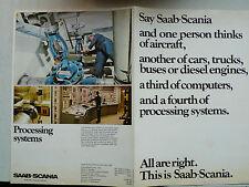 Prospekt Saab Scania: Aircraft, cars, trucks, buses, engines, 1972, englisch