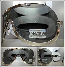 CLASSIC VINTAGE RETRO Wrap SHIELD Style SUN GLASSES Chrome Frame Dark Black Lens
