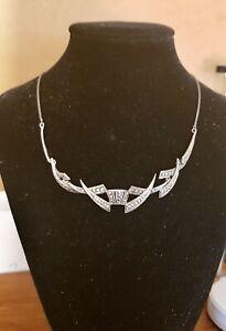 Original Art Deco Sterling Silver Marcasite Choker Necklace. Forrmal