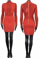 BALMAIN 3500$ Authentic New Red Viscose Stretch Knit Stripe Mini Dress sz 36 4