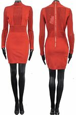 BALMAIN 3500$ Authentic New Red Viscose Stretch Knit Stripe Mini Dress sz 36 4