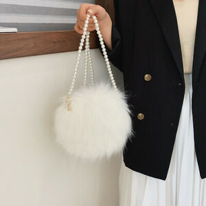 Women's White Faux Fur Fluffy Shoulder Bags Fashion Round Mini Pearls Chain Bags
