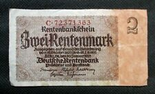 OLD BANK NOTE OF THIRD REICH GERMANY 2 RENTENMARK 1937 NO. C72371363
