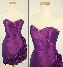 New Jovani Strapless Formal Cruise $300 Dress Size 12 Bubble Prom Purple Short