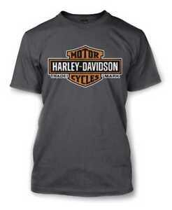 Harley-Davidson Men's Elongated Orange Bar & Shield Charcoal T-Shirt 30291961
