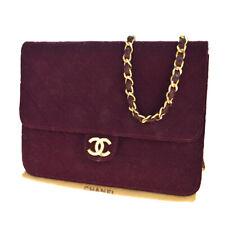 Auth Chanel 2WAY CClogo Chain Canvas Shoulder Bag Bordeaux 79GC201