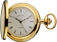 Pocket Watch Gold Plated Half Hunter with Date - Mechanical Movement - Chain