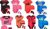 Nike Baby Girl Boy 3 Piece Bodysuit Booties Beanie Hat Romper New