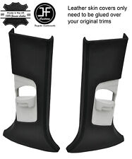BLACK STITCH 2X UPPER B PILLAR LEATHER COVERS FITS FORD FOCUS MK3 12-18 5 DOOR