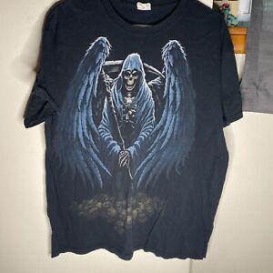 Vintage Skeleton Grim Reaper T Shirt Size Large