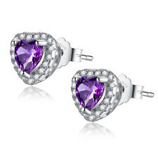 Sterling Silver 1.0 cttw Created Amethyst Heart Shaped Stud Earrings