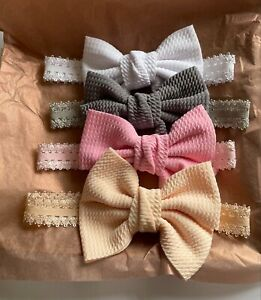 Newborn Toddler elasticated laced baby headband with a large Waffle Bow big bow