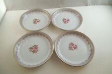 Vintage Unmarked Set of 4 Butter Pat Dishes Dish Pink Roses Japan ?