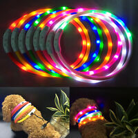 USB Rechargeable Pet Collar LED Adjustable Flashing Light Waterproof Dog Band UK