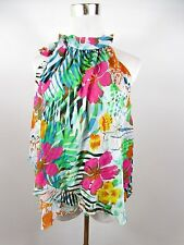Women's Casual Sexy Floral Summer Frill Ruffle Sleeveless Blouse Top One sz BE30