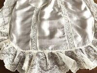 Beautiful Antique Cream Silk & Needlework Lace Apron